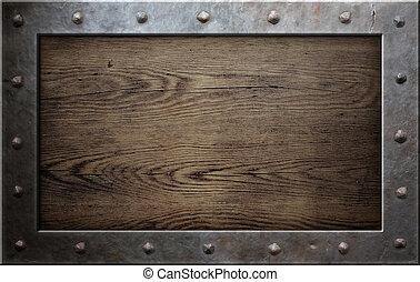 oud, metaal, frame, op, houten, achtergrond