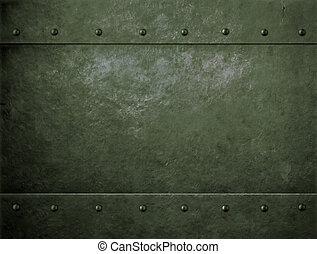 oud, metaal, groene, militair, achtergrond, met, klinknagelen