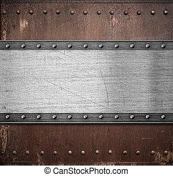 oud, metaalplaat, op, roestige , achtergrond, met,...
