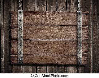 oud, middeleeuws, houten, op, meldingsbord, hout, plank, plaque