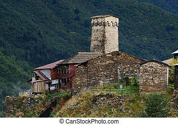 oud, murqmeli, generisch, versterkte, dorp, toren, aanzicht