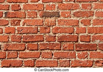 oud, muur, baksteen
