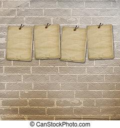 oud, muur, ouderwetse , advertenties, bladen, baksteen