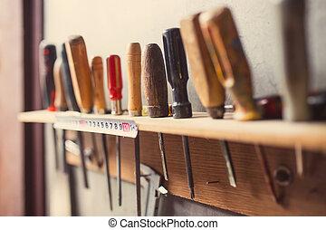 oud, muur, tinten, woodworking, retro, gereedschap