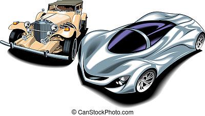 oud, (my, auto's, design), nieuw, sportende, origineel
