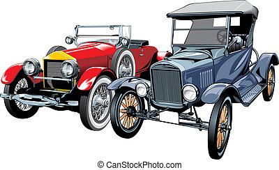 oud, (my, auto's, design), sportende, origineel