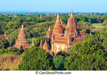 oud, myanmar, hoogte, bagan, pagodas, balloon