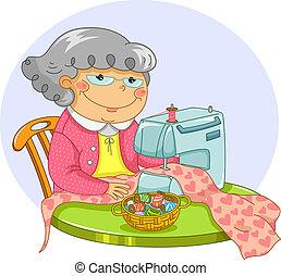 oud, naaiwerk, dame