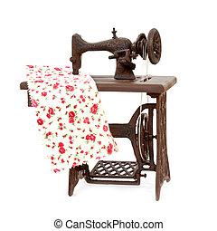 oud, naaiwerk, vrijstaand, machine, achtergrond, witte