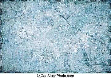 oud, nautisch, schatkaart, achtergrond