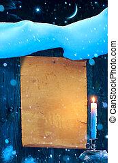 oud nieuw, het document van kerstmis, achtergrond, jaar, kunst, boekrol