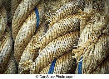 oud, nylon, kabels