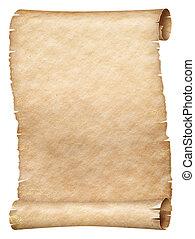 oud, of, papyrus, vrijstaand, boekrol, witte , perkament