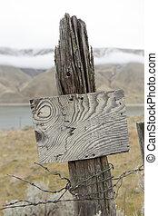 oud, omheining, houten, meldingsbord, rustiek, post