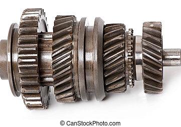 oud, onderdelen, metaal, tandwiel