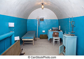 oud, ondergronds, ziekenhuis, in, militair, sovjet, bunker
