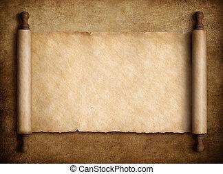 oud, op, illustratie, boekrol, papier, achtergrond, perkament, 3d