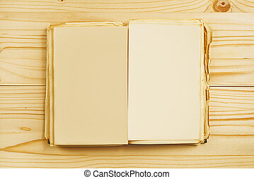 oud, opengeslagen boek, met, leeg, pagina's, van boven