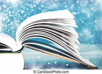 oud, opengeslagen boek, met, magisch, licht, en, dalende sterren