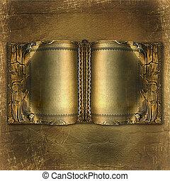 oud, oud, boek, met, goud, pagina's, op, de, abstract,...