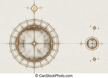 oud, oud, tabel, kompas, nautisch, perkament