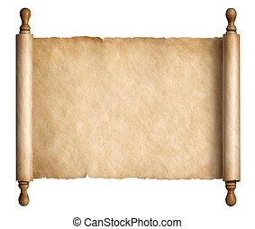 oud, oud, vrijstaand, illustratie, of, papier, witte , perkament, boekrol, 3d