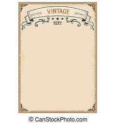 oud, ouderwetse , frame, papier, achtergrond, sierlijk, boekrol