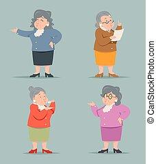 oud, ouderwetse , karakter, vrijstaand, illustratie, vector, ontwerp, retro, vrouwlijk, oma, kunst, pictogram, spotprent, volwassene