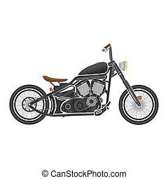 oud, ouderwetse , racer, bike., thema, black , bobber, koffiehuis