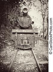 oud, ouderwetse , trein, beeld