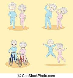 oud, paar, doen, excercise