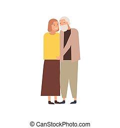 oud, paar, het koesteren, verhouding, wedded, spotprent, ...
