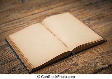 oud, pagina's, hout, achtergrond, leeg, opengeslagen boek