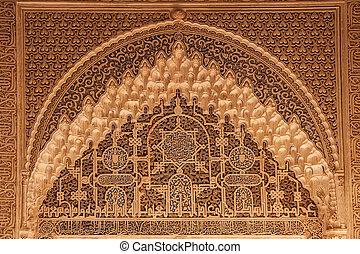 oud, paleis, muur, alhambra, ornament, arabisch