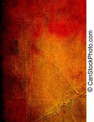 oud, paper:, abstract, textured, achtergrond, met, rood, gele, en, bruine , motieven