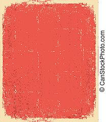 oud, paper.vector, rode grunge, textuur, voor, tekst