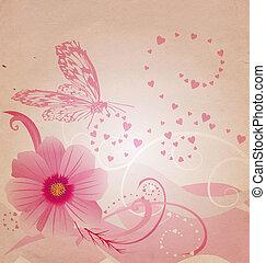 oud, papier, afbeelding, met, bloemen, en, roze, butterfliy