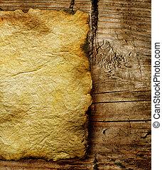 oud, papier, blad, op, houten, achtergrond, closeup