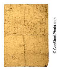 oud, papier, blad, verpletterde