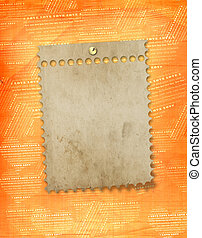 oud, papier, frame, in, scrapbooking, stijl, op, abstract, grunge, achtergrond