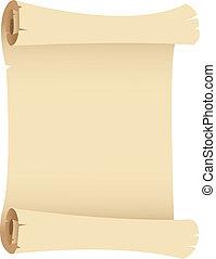 oud, papier, grunge, boekrol