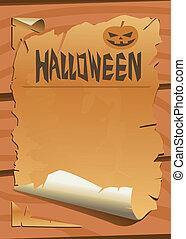 oud, papier, halloween, pompoen