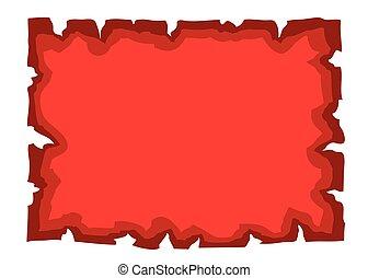 oud, papier, leeg, document, perkament, rood
