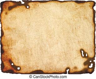 oud, papier, met, aangebrand, randen, vrijstaand, op wit,...