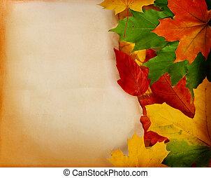 oud, papier, met, autumn leaves