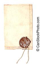 oud, papier, met, een, wasverbinding
