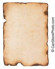oud, papier, met, gebrande, randen