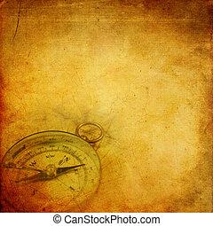 oud, papier, met, kompas