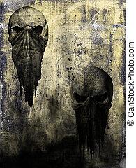 oud, papier, met, schedel