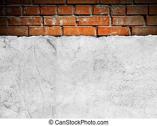 oud, papier, op, brickwall
